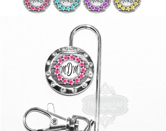 Purse Key Chain - Personalized Flower Ring on Gray Boards Key Finder in 4 Colors with Name, Monogram - Bridesmaid Wedding Favor Gift (A088)