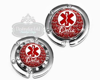 Purse Hanger - Personalized Red Caduceus Medical Nurse Bag Hook with Name, Monogram - Hospital Favor or Gift (A183)