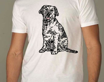dog shirt - dog tshirt - mens shirts - labrador retriever - dog lover tshirt - dog lover gift - hipster shirt - BLACK DOG - crew neck