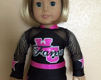 "Made to order West Coast Fame Cheerleader Uniform to fit American Girl Doll or any 18"" doll"