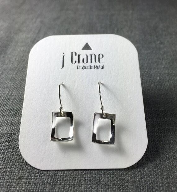 Open Scoop Rectangle Earrings - Sterling Silver