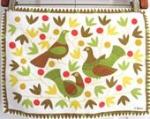 Vintage Swedish Placemat MOD Birds Flowers Artfelt Textile Art