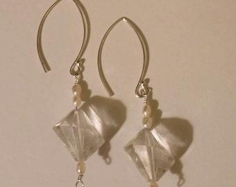 asymmetrical vintage lucite pearl earrings
