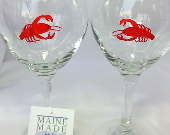 Lobster Wine glasses, Maine Lobster Stemware,  set of two