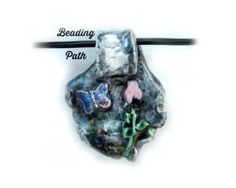 Pendant bead, Ceramic bead, Handmade clay bead, clay bead, blue bead,     # 37