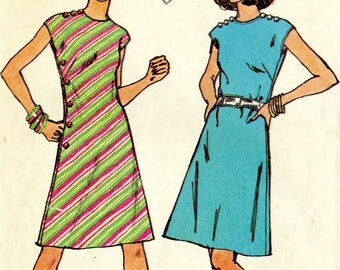 Vintage 70s Simplicity 6206 Misses A Line Summer Mini Dress with Button Trim Sewing Pattern Size 12 Bust 34