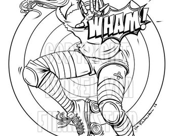 Digital Download - Print your own colouring book outline page -Roller Derby- WHAM!