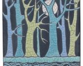 Trees, Moon and Water, Ceramic Wall Art ,Aqua,,Ceramic tile,handmade 6x6 inch raku fired art tile