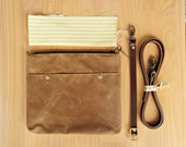 Waxed Canvas Crossbody Bag in Saddle Brown with Vintage Style Yellow Ticking Lining and Leather Strap, Waxed Canvas Cross Body Purse, USA