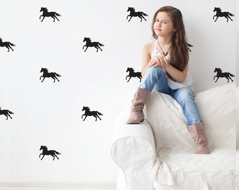 Horse Wall Decals 28 Gold Wall Decals, Silver Decals, Black or White Equestrian Horse Decals Metallic Vinyl Wall Decal