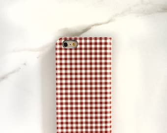 Flip Phone Case Red Gingham iPhone 6S Wallet Case, Checked