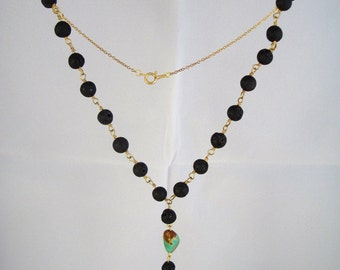 8mm natural lava rock rosary chain with genuine mother of pearl horn pendant