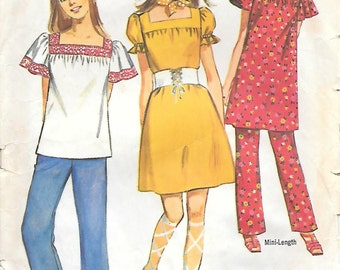 Simplicity 9225 1970s Peasant Top Dress and Pants Vintage Sewing Pattern Size 9 Bust 33 Mini-Dress Tunic Hippie