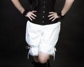 uk size 12 white cotton bloomers pantaloons steampunk victorian edwardian adult womens goth gothic lolita morigirl mori girl lagenlook
