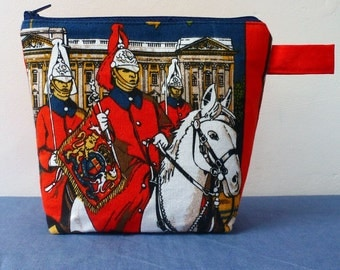 Changing Guards at Buckingham Palace zipper purse, upcycled fabric pouch, London fun