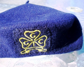 Girl Guide Official Beret Pure Wool Felt Circa 1960s Vintage GGC Emblem Navy Blue Girl Guides of Canada Scouts