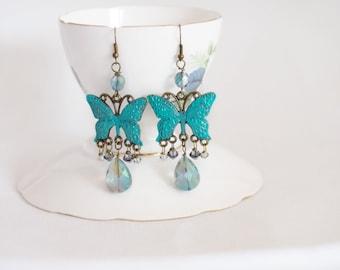 butterfly earrings, bohemian chandelier earrings, gypsy butterfly earrings, turquoise butterfly jewelry