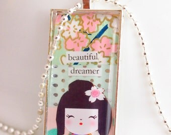 kokeshi doll necklace, beautiful dreamer kawaii doll necklace, domino pendant, kokeshi kawaii necklace