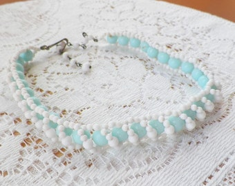 Vintage Light Aqua and White Glass Bead Choker / Necklace from Japan, Twisted Rope, Summer / Summertime, Retro