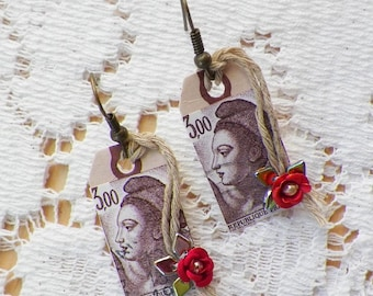 Handmade Mixed Media Assemblage Small Tag Earrings, Pierced, Embellished Red Rose, Pearl Beads, French Postage Stamp, Boho, Steampunk