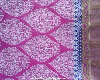Pink Block Print Saree Fabric, Indian Cotton Sari Fabric, Indian Saree Fabric, Tree Of Life Block Print Fabric, Block Print Saree Fabric
