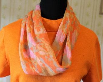 Vintage Silk Chiffon Infinity Cowl Scarf, Pink & Orange Impressionist