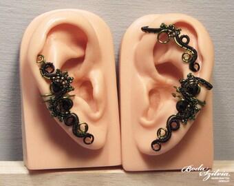 Witch EAR WRAP SET - wire wrapped ear wrap - black ear wrap, green ear cuff, no piercing ear cuff, adjustable ear wrap, gothic jewelry