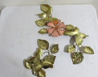 Brass Wall Sculpture 2 Piece Cooper Flower and Butterfly