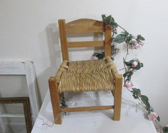 Wood and Rattan Chair Baby Doll Size Photo Prop Display