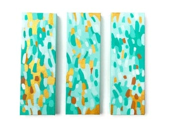 "Coastal Abstract Triptych, Three original acrylic paintings on 4"" x 12"" canvases, Beach House Wall Art, ""Gold Coast"" by Jessica Torrant 2016"
