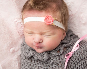 newborn take home  felt flower headband - you pick color