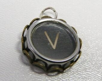 Typewriter Key Pendant / OOAK / Vintage Jewelry / Initial V / Gift / Letter V / Easter / stuffer / Upcycled monogram