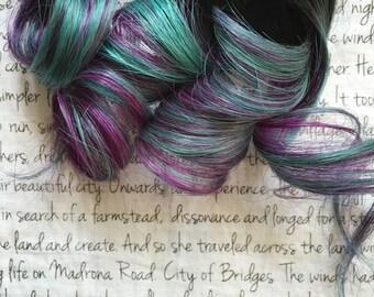 the L A B R A D O R I T E . Labradorite CRYSTAL collection Remy hair extension accent clip in 100% human hair dark brown black purple mint