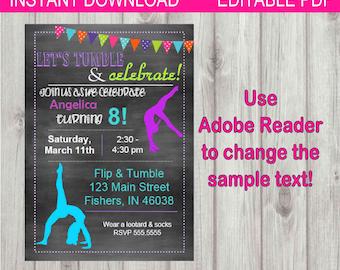 Editable Digital Chalkboard Style Gymnastics Birthday Girl Party Invitation INSTANT DOWNLOAD