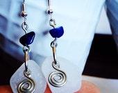 White Irish Sea Glass Drops w/ Lapis Lazuli and Celtic Swirl