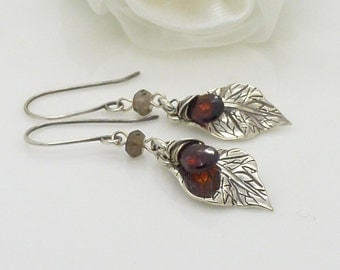 Sterling silver leaf earrings, dark red garnet jewelry, oxidized silver, brown and red gemstone jewelry, nature earrings