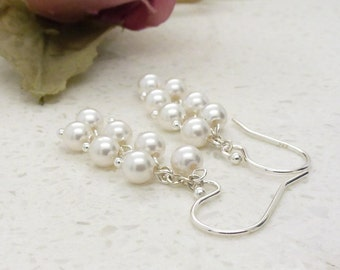 Small white pearl cluster earrings, silver and white pearl wedding earrings, bridal jewelry