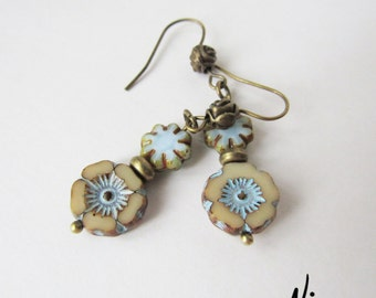 Blue Floral Czech Glass Bronze Earrings