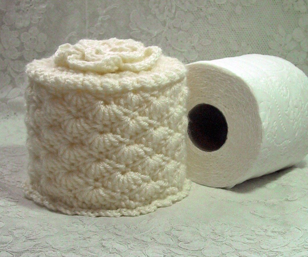Cover Your Spare Toilet Paper Cozy W Flower On Top Hand