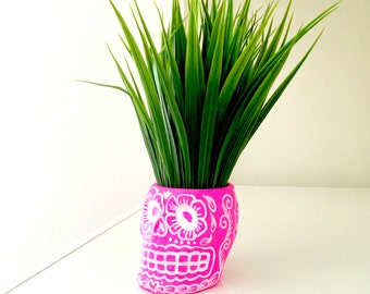 Sugar Skull Planter Pink White Painted Ceramic Candle Holder Day of the Dead Folk Art Halloween Dia de los Muertos - MADE TO ORDER