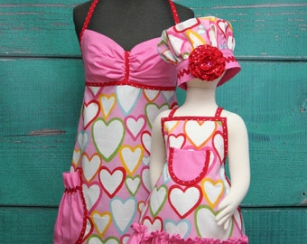 Mother/Daughter Matching Aprons - Pink & Red Hearts