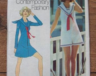 vintage 70s simplicity pattern 9982 misses mini dress pantdress and tie sailor look sz 10 b32 1/2