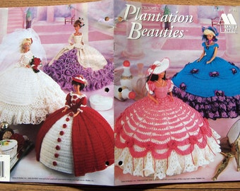 vintage 1995 Annie's Attic crochet pattern Fashion Doll PLANTATION BEAUTIES children toy doll dresses