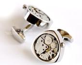 Silver Mechanical Cufflinks - Steampunk - Wedding - Groom - Grad