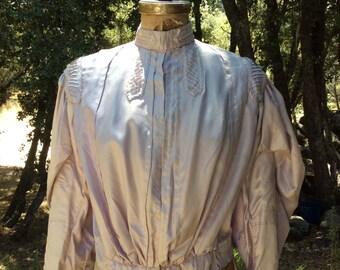 """Antique Vintage 1900 lavender platinum satin blouse """"Edwardian"""" design elements large size excellent condition"""