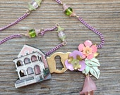 The Pink House: an upcycled necklace - 727