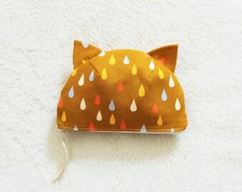 Raindrops Cat Cotton Pouch