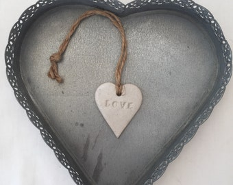 FREE POSTAGE- Pottery, Loveheart ceramic hanger, gift for her, wall hanging, home decor, UK, pottery, birthday, christmas, Valentine's Day