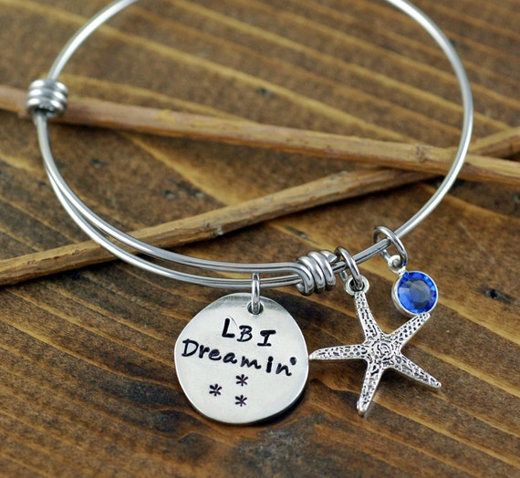Beach Jewelry - Hand Stamped Bracelet - Long Beach Island Jewelry - Personalized Bangle Bracelet - Starfish Jewelry