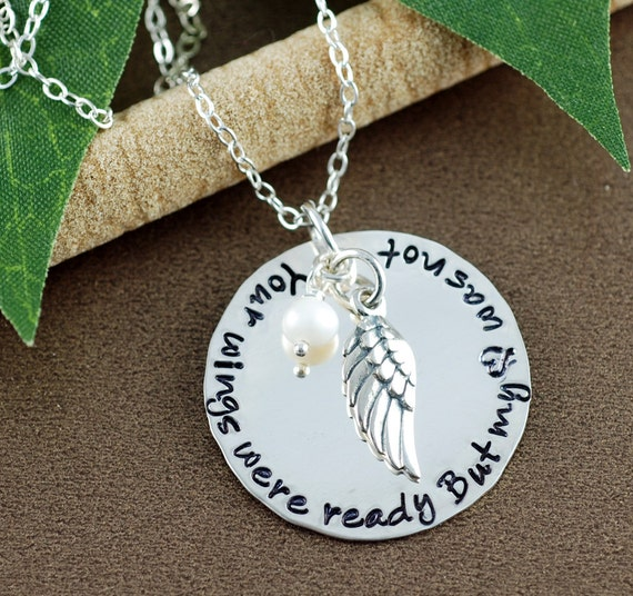 Your wings were ready but my heart was not Necklace | Hand Stamped Memorial Necklace | Memorial Keepsake Necklace | In Memory Of | Sympathy